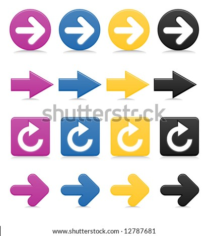 Smooth-style arrows in bright colors; includes drop shadows - stock vector