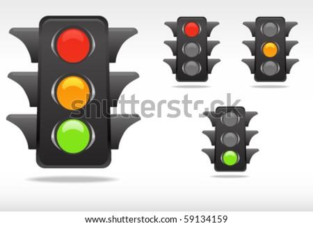 smooth traffic lamp symbols - stock vector