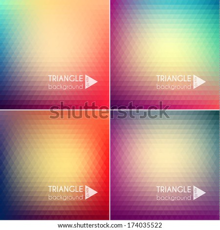 Smooth triangular colorful backgrounds set - eps10 - stock vector