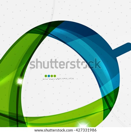 Smooth wave line abstract background - color curve stripes and lines in motion concept and with light and shadow effects. Presentation banner and business card message design template - stock vector