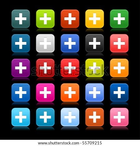 Smooth web 2.0 button with cross sign on black background. Colored rounded square shapes with reflection. - stock vector
