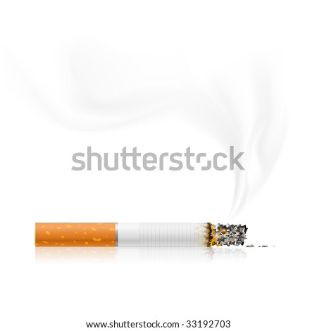 smouldering cigarette with a smoke - vector illustration - stock vector