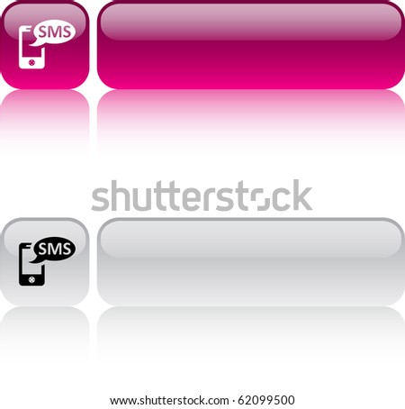 SMS glossy square web buttons. - stock vector