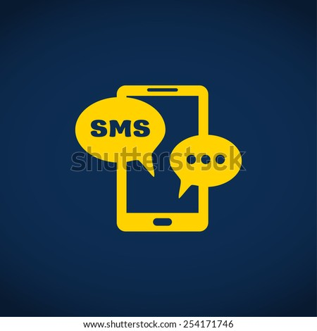 sms on mobile phone, web icon. vector design - stock vector