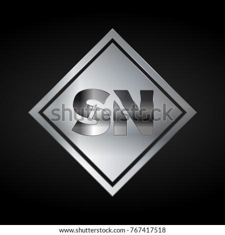Sn Monogram Silver Logo Metal Logo Stock Vector 2018 767417518