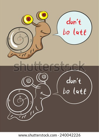 Snail cartoon, art vector illustration