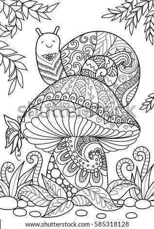 Snail Sitting On Beautiful Mushroom