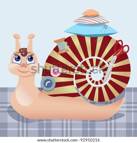 Snail the seamstress with scissors, a pillow, a pin, buttons, threads. In a gallery also accessible variant with a snail is fiancee. - stock vector