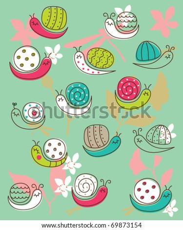snail wallpaper - stock vector