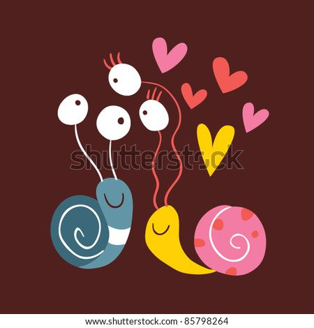 Snails In Love - stock vector