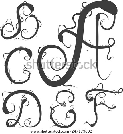 snake alphabet vector; reptile alphabet vector; easy for edit; gloomy alphabet; extraordinary alphabet - stock vector