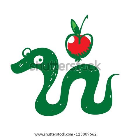 Snake and Apple reptile fruit sin paradise eden - stock vector