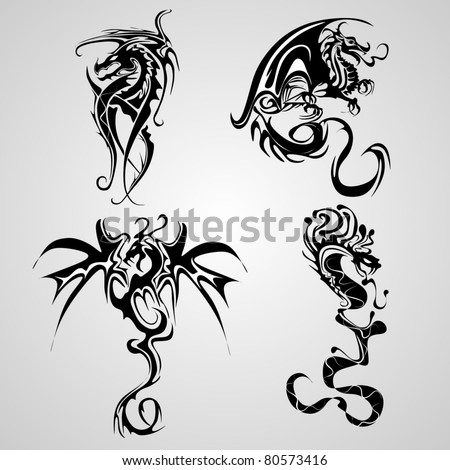 snake and dragon tattoo - stock vector