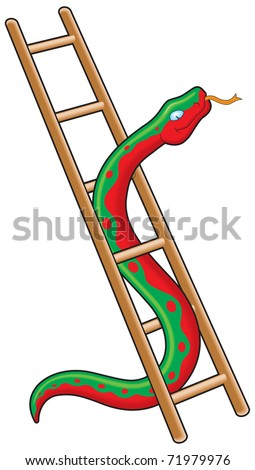 Snake and ladder business metaphor - stock vector