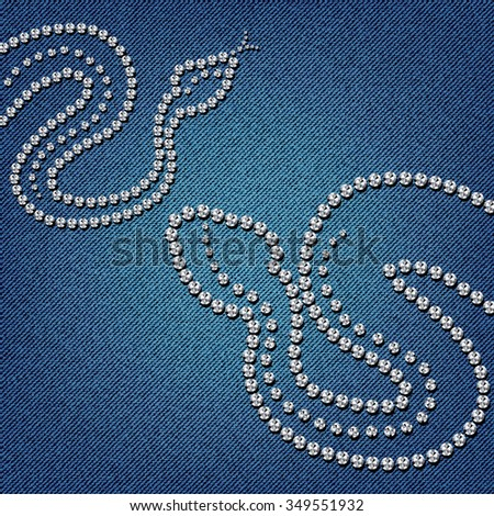 Snake forms on a blue jeans texture background. Vector illustration. - stock vector