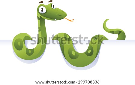 Snake lying down in front of white background