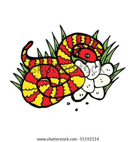 snake nest drawing - stock vector