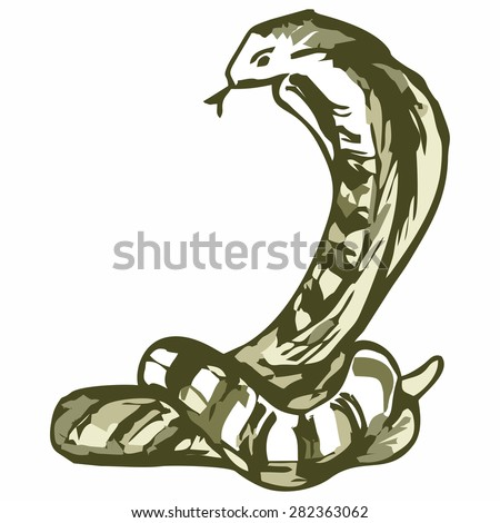 Snake sketch. Shades of green and yellow. Doodle style - stock vector