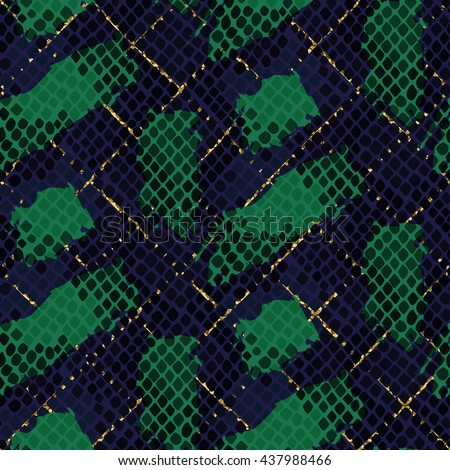 Snake skin green seamless vector texture. Blue and green tone colors snake pattern ornament for textile fabric. Artificial reptile leather pattern with brush strokes and gold details. - stock vector