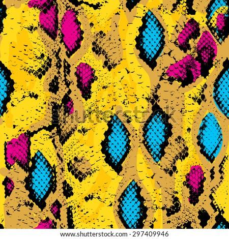 Snake skin texture. Seamless pattern pink blue orange black yellow background. Vector illustration - stock vector