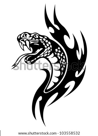Snake tattoo with black flames. Vector illustration - stock vector
