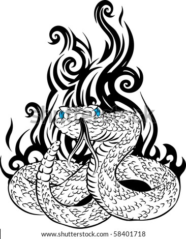 Snake tattoo with tribal fire behind - stock vector
