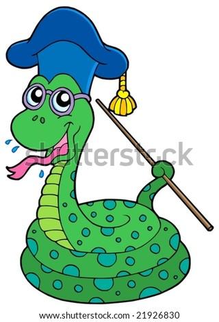 Snake teacher - vector illustration. - stock vector