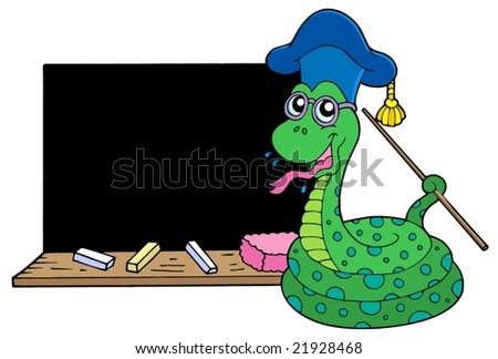 Snake teacher with blackboard - vector illustration. - stock vector