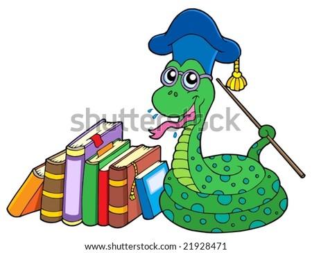 Snake teacher with books - vector illustration. - stock vector