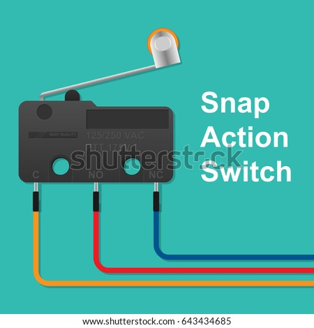 snap action switch wiring stock vector 643434685 shutterstock rh shutterstock com Thermostat Temperature Switch Mini Snap Action Switch