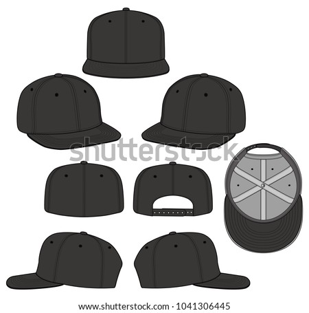 SNAPBACK CAP Vector Illustration Flat Sketches Stock-Vektorgrafik ...