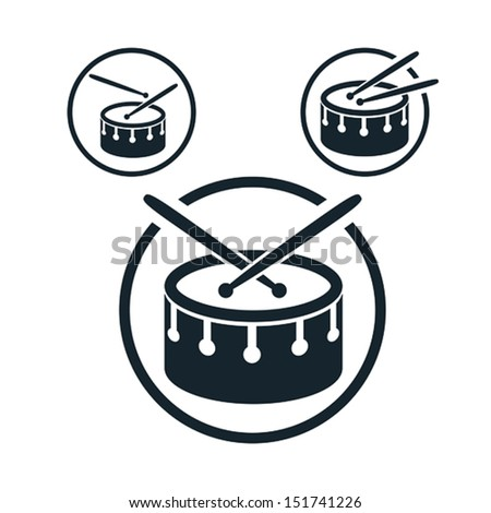 Snare Drum Icon Single Color Vector Music Theme Symbol For Your Design 3 Versions