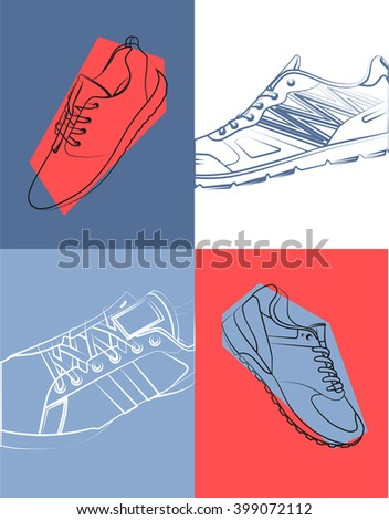 Sneaker Sport Running Shoe Flat Icon Vector Illustration - stock vector