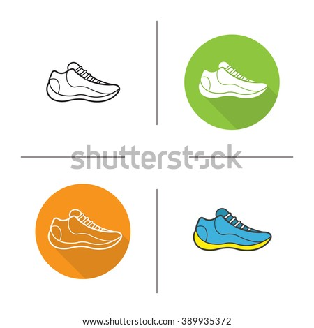 Sneakers flat design, linear and color icons set. Modern footwear. Running shoes. Contour and long shadow symbols. Basketball sneaker logo concepts. Sport shoes isolated vector illustrations - stock vector