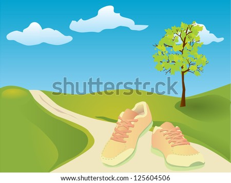 Sneakers for running workout in spring - stock vector