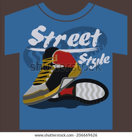 sneakers graphic design for t-shirt. vector illustrations - stock vector