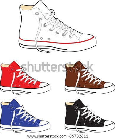 Sneakers (gumshoes) - vector illustration - stock vector
