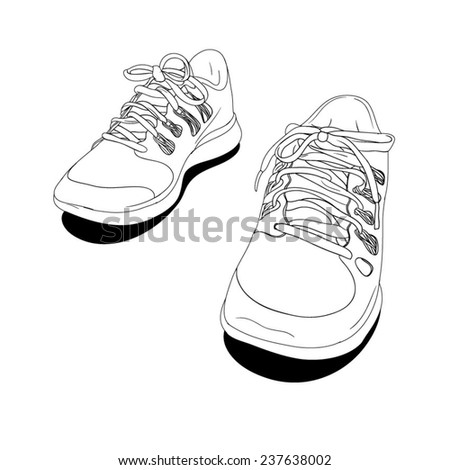 Sneakers - hand drawn. Vector Illustration. - stock vector