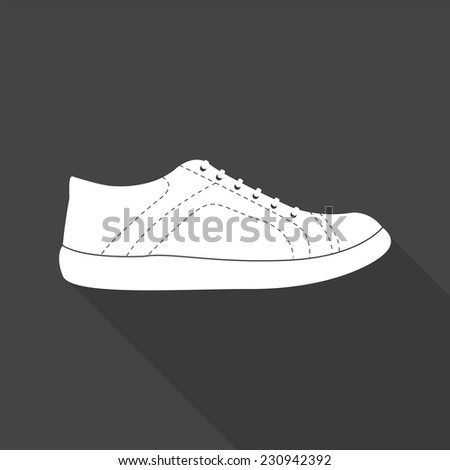 sneakers icon - vector illustration with long shadow isolated on gray  - stock vector