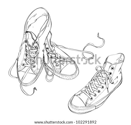 Sneakers in Black and White - stock vector