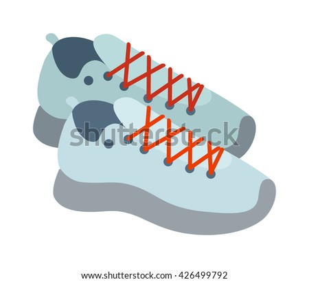 Sneakers isolated and fashion running footwear sneakers. Vector sportsneakers and pair sport run sneakers. Fashion running footwear fitness clothing running shoelace athletic accessories. - stock vector