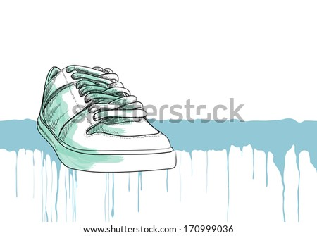 sneakers on white background - stock vector