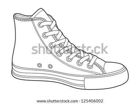 sneakers on white background (outline) - stock vector