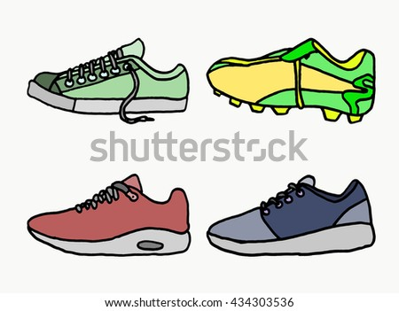 Sneakers on white background. Vector illustration Sneakers. Sneakers logo. Sneakers icon. Sneakers art. Sneaker vector. Sneakers color.  Sneaker Icon Object. Sneaker Icon Picture. Sneaker Icon Image. - stock vector