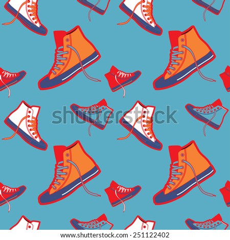 Sneakers pattern on blue background