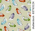 sneakers seamless pattern - stock vector