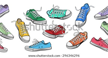 Sneakers shoes horizontal seamless pattern. Sport and street fashion footwear, vector illustration - stock vector