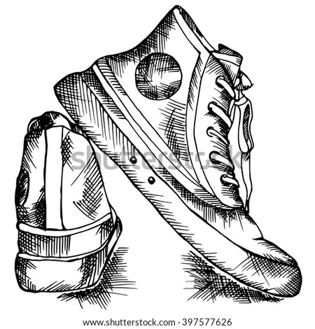 sneakers sketch style. Vector illustration.