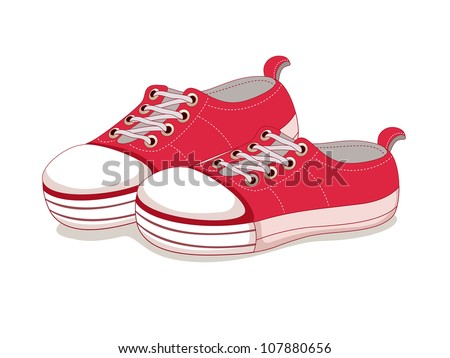 Sneakers vector, canvas shoes - stock vector