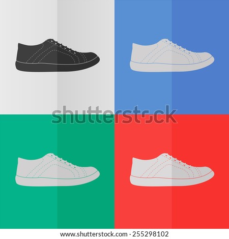 sneakers vector icon. Effect of folded paper. Colored (red, blue, green) illustrations. Flat design - stock vector